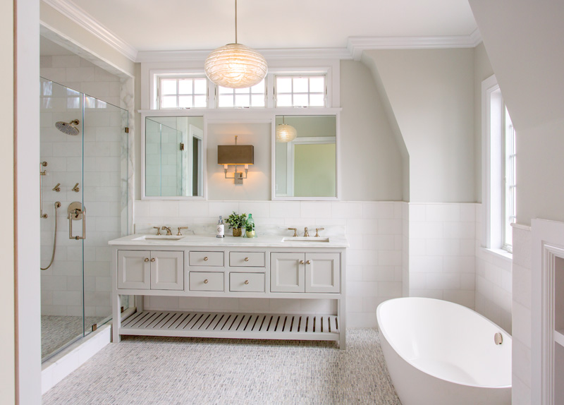 The master bath offers more modern touches.