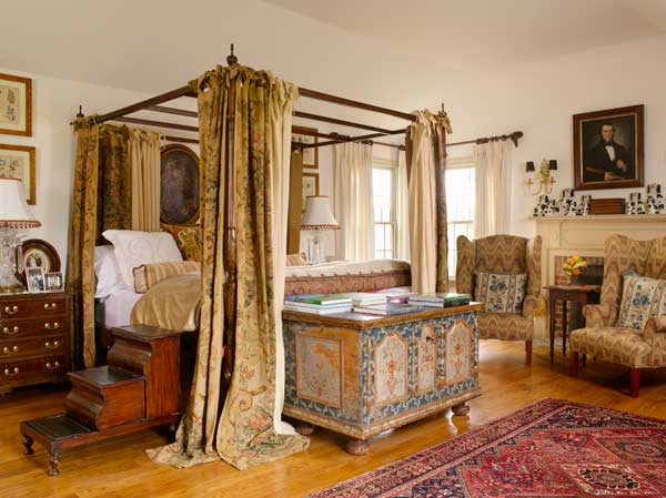 The master bedroom expresses the owner's aesthetic with a scheme that veers away from American colonial starkness and toward the Baroque style of late 17th-century and early 18th-century Europe.