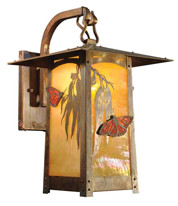 The new Eucalyptus Butterfly filigree lantern from Old California's Cobblestone Lane series can be customized with 10 different shades of art glass or mica and nine finishes.