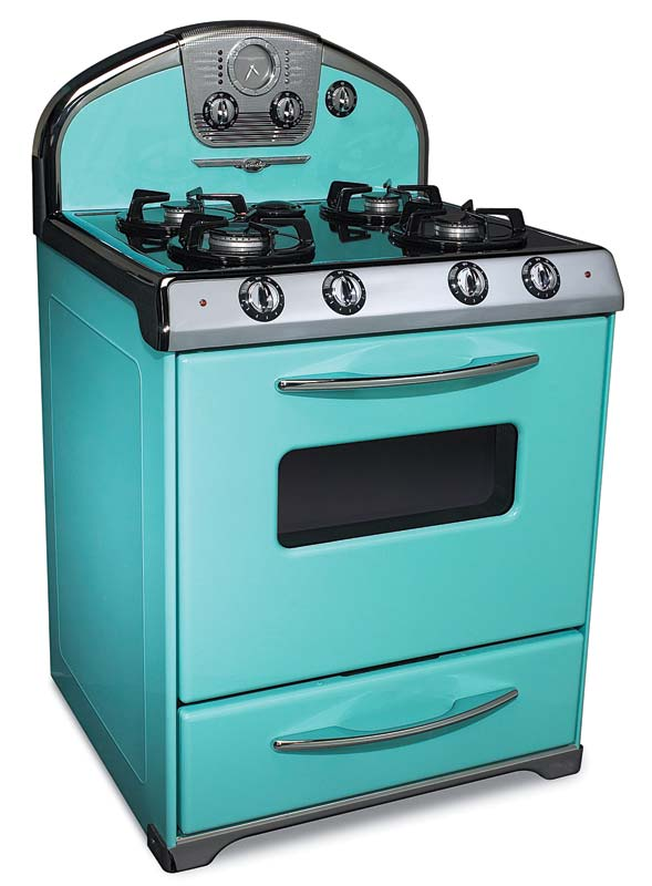 The 'Northstar' line from Elmira Stove Works adds high-tech to a 1950s look, available in nine automotive-finish colors with chrome.