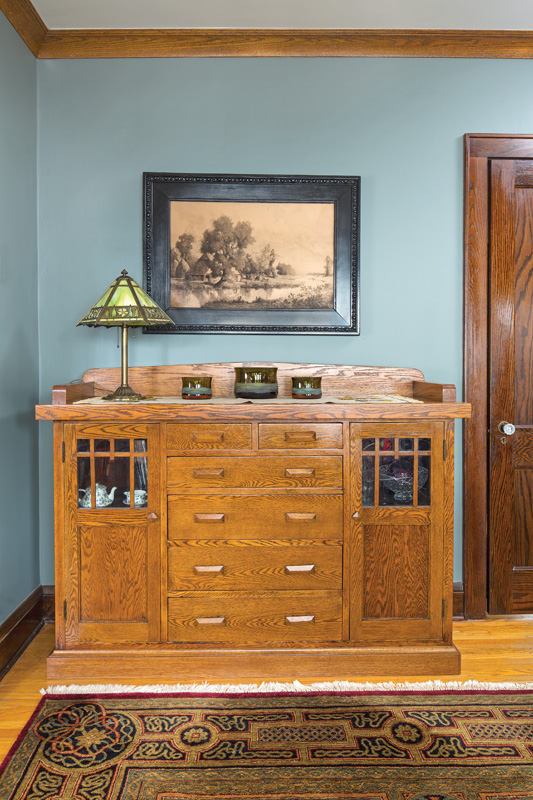 The oak sideboard was the original built-in buffet in the dining room.