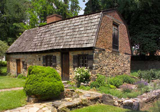 The original section of the Caleb Pusey House dates to 1683, in the English post-medieval vernacular.