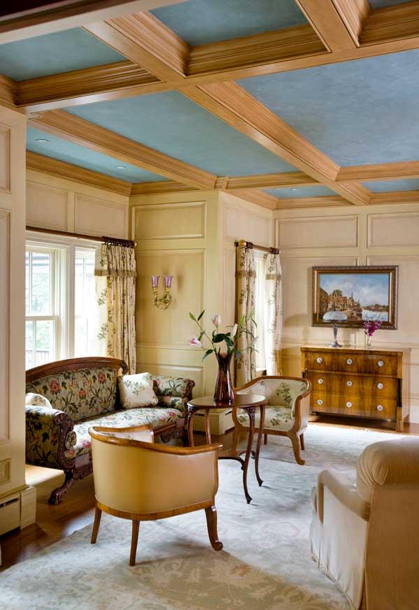 The parlor boasts paneled walls.