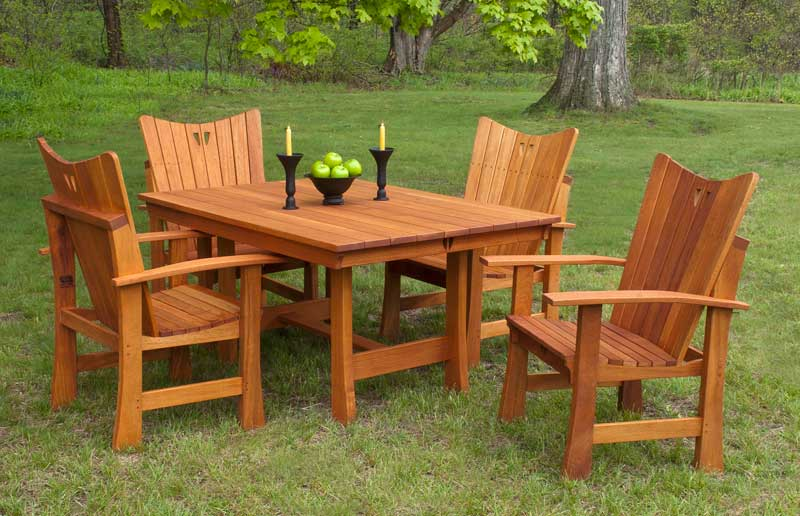 The 'Stag Run' collection in African mahogany is Center of the World's Adirondack interpretation.