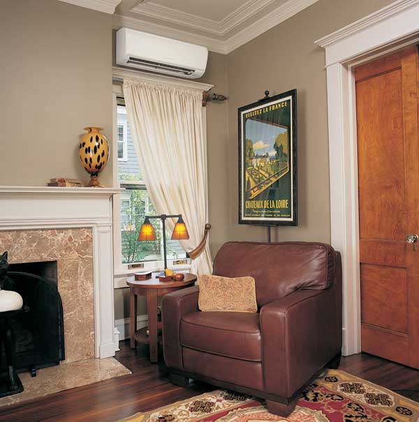 The wall-mount unit by Mitsubishi Electric offers ductless heating and air conditioning in a space-saving unit that is both easy to install and less obtrusive than window units.