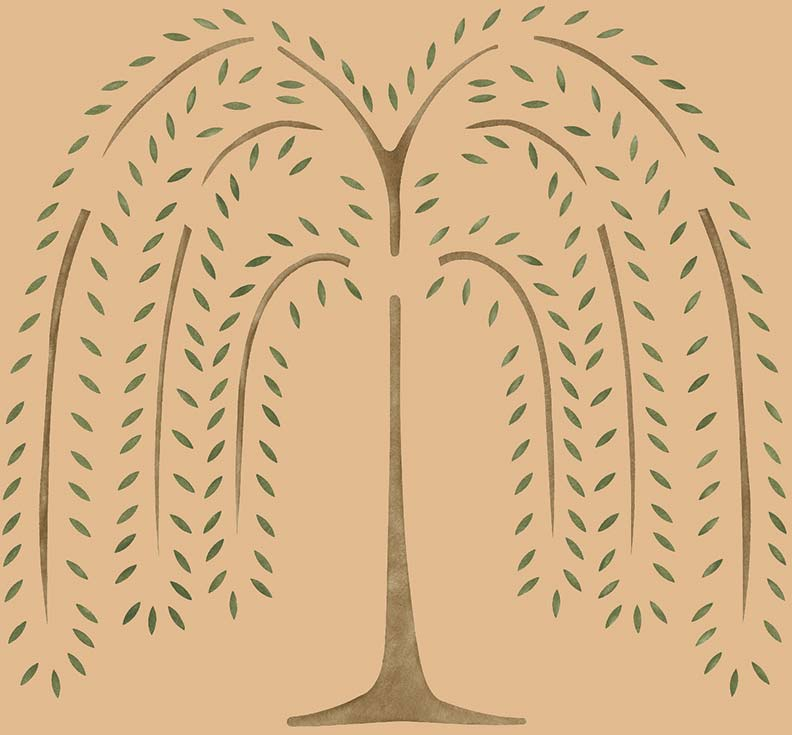 The willow tree (also from Colonial Homes Connection) is a common stencil design of the colonial period.