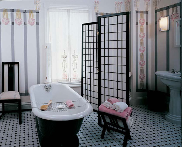 This bathroom has a spare and functional beauty that belies the room's small size and problematic floor plan.