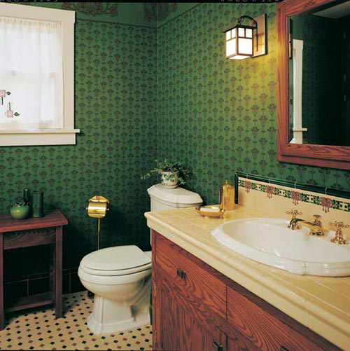 This bathroom with its one window is quite small, not inappropriately for this modest Bungalow.