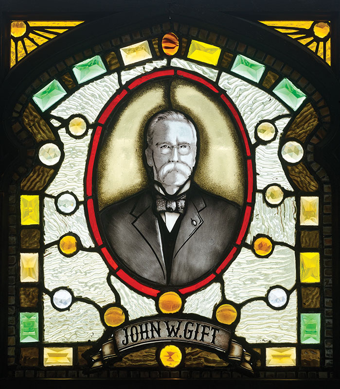 This panel depicting first owner J.W. Gift was made by Z. Vesoulis.