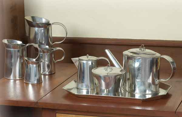 Tinware serving pieces from Historic Housefitters.