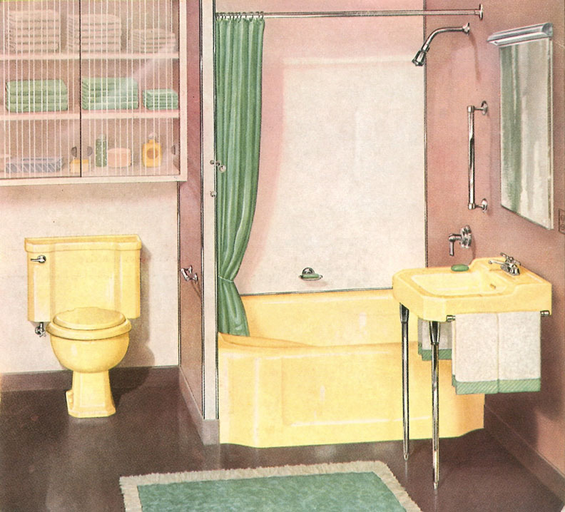 Beginning in the 1930s, close-coupled toilets in a rainbow of colors were all the rage. While the design continues to be popular today, colorful fixtures faded by the 1970s.