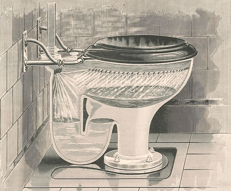 The first flushing-rim toilet made its debut in 1824.