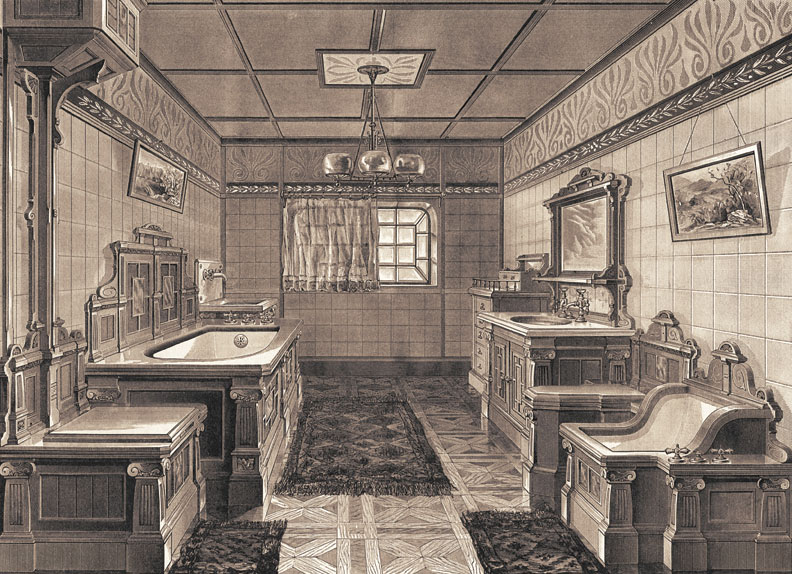 Early bathroom suites, like this 1885 J.L. Mott example, were designed to look like furniture, with fixtures encased in heavy, often carved, wood. (That's the toilet, front left.)