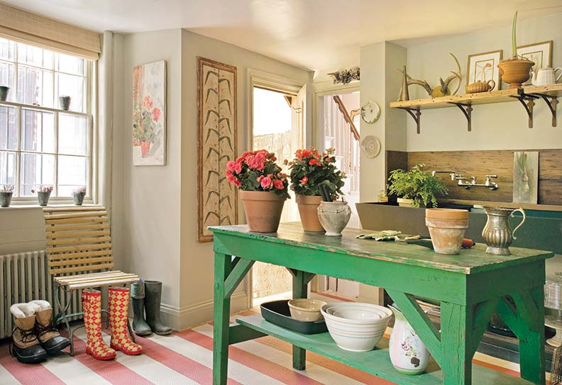 Mudrooms often have multiple purposes, such as storage for boots and gardening equipment.
