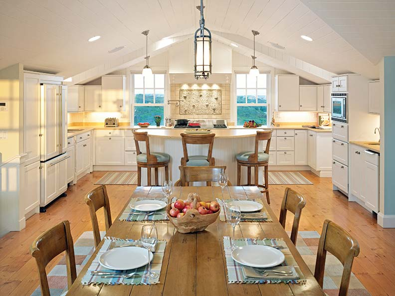 The kitchen offers traditional touches with several views of the nearby coastline.