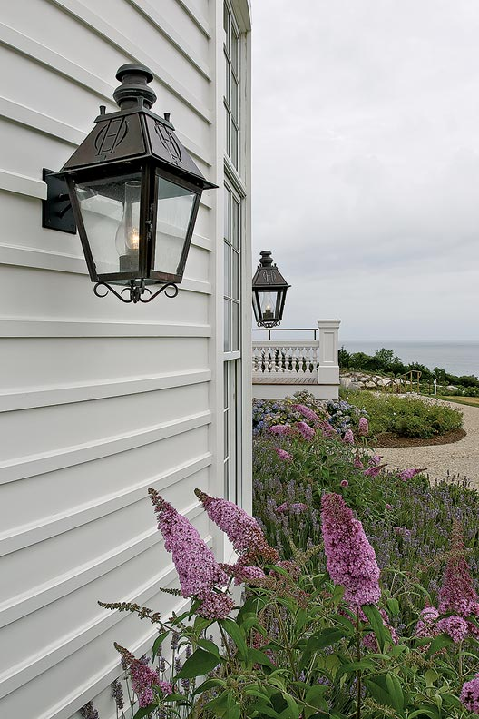 An authentic lantern in a bronze finish offers a more formal look.