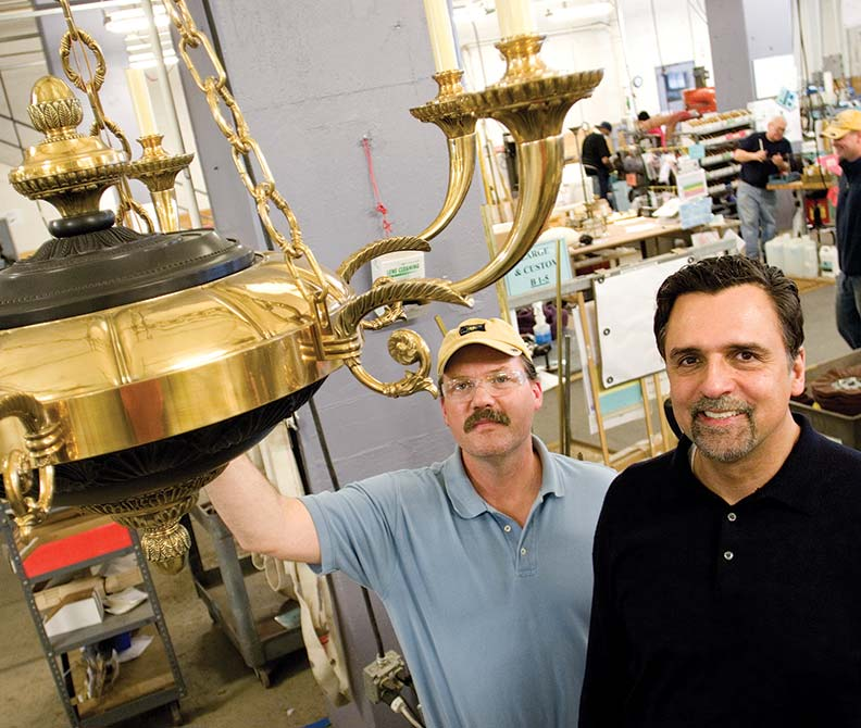 Steve Kaniewski and Larry Kazmierski have been working together for years to make beautiful works of art in light fixtures.