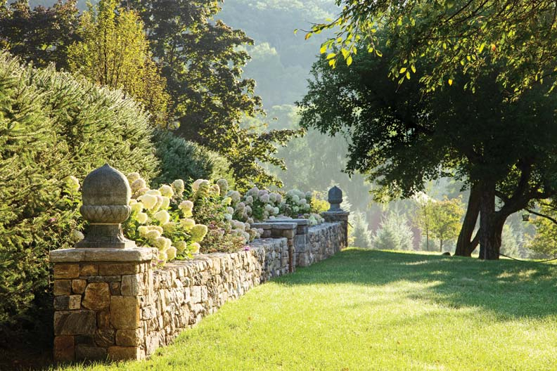 Stone walls help to define the new design.