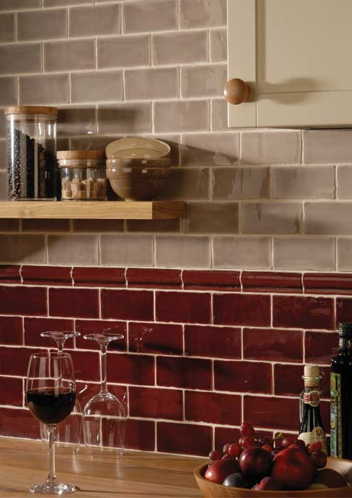 Two colors of subway tile from Tile Source create a commercial or contemporary effect.