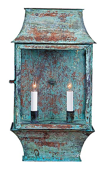 Two-light verdigris porch lantern, Authentic Designs