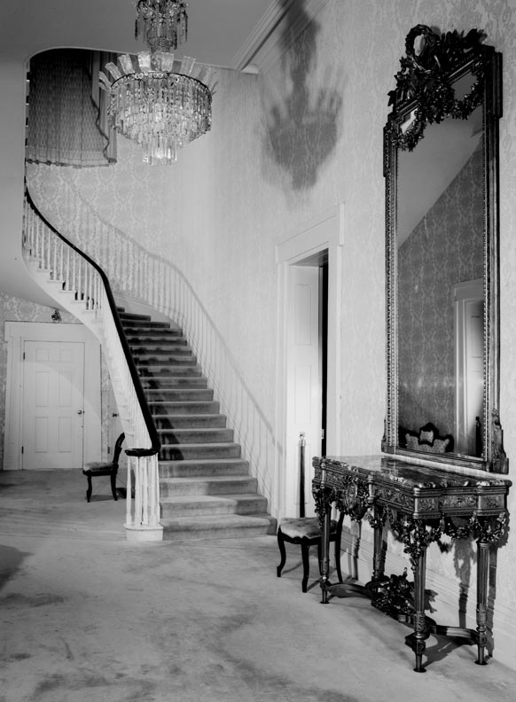 During the current restoration, the central staircase (seen here in 1966) was only cleaned and waxed, leaving behind 150 years of history.