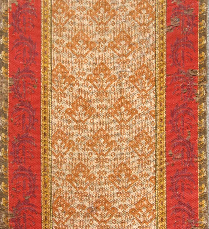 Damask Venetian carpet with center motif and borders.