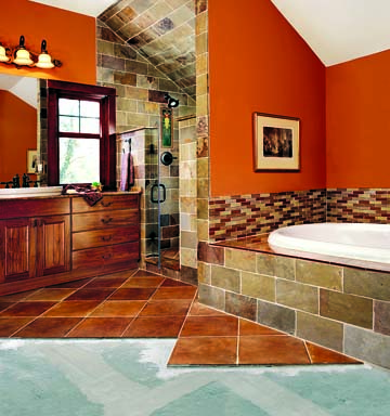 For a moisture-prone installation in a tiled bath, Unifix's PermaBase brand cement board provides a rigid substrate made of Portland cement, aggregate, and glass mesh.