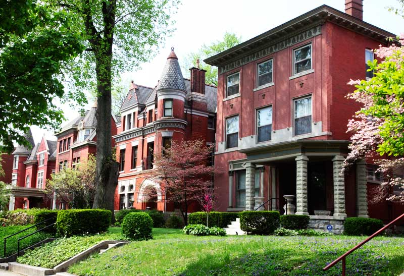 Various Victorian styles are apparent in the handsome brick houses.