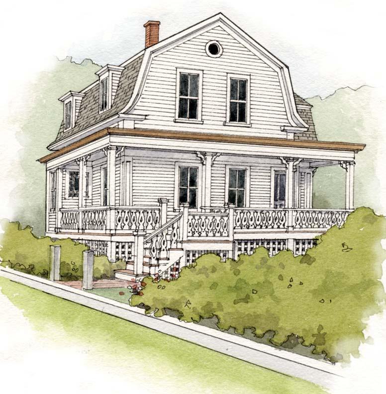Second Empire cottage all-white paint scheme