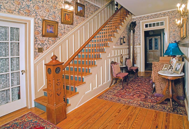 hand-screened wallpaper in entry hall