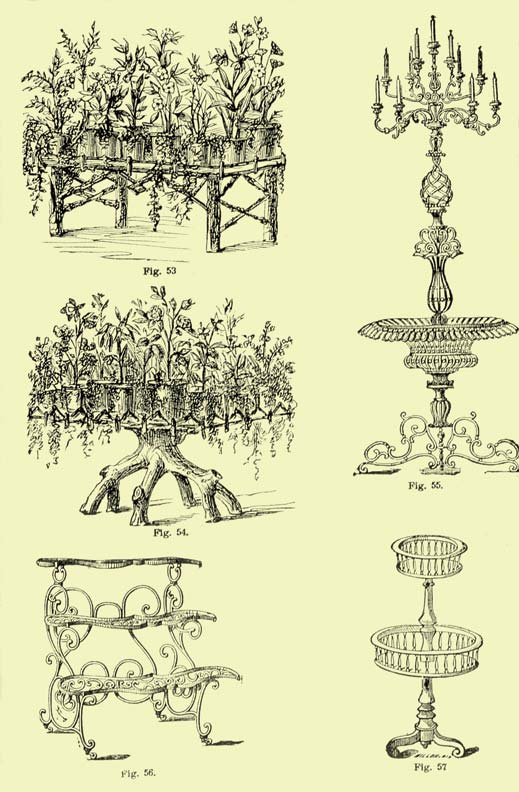 Plant stands abounded in an array of materials and styles, often multi-tiered and some including fishbowls, fountains, birdcages, or candelabras.