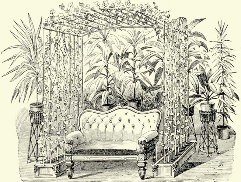 The most extreme arrangements incorporated vine-covered trellises surrounding a sofa. Backed by yet more plants, they gave the impresson that the furniture was being engulfed by a jungle.