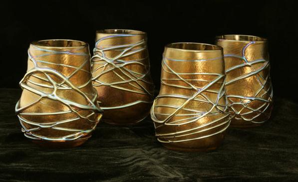 Vine glass tumblers, Pavonine Glass