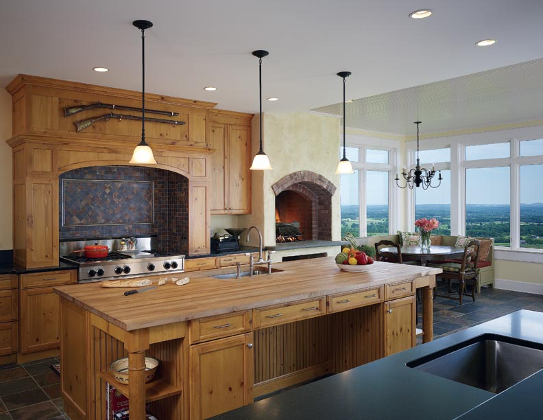Salvaged wood was used for the kitchen cabinets and countertops.