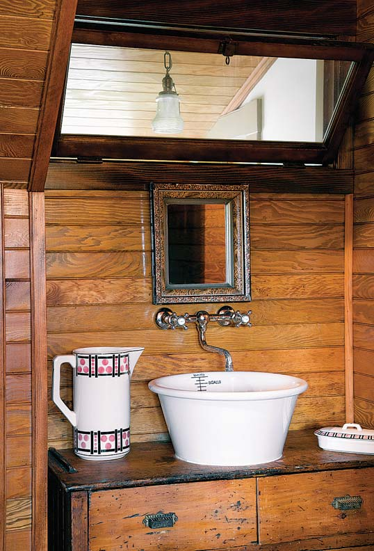 A salvaged bowl becomes a vintage-inspired vessel sink.