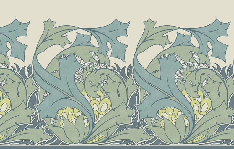 Voysey's Iolanthe frieze, install wallpaper frieze