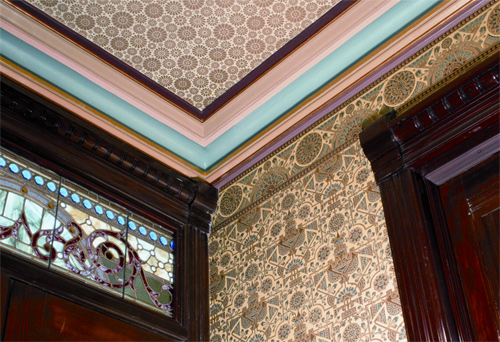 Striping pulls colors together and offers relief in this installation of Bradbury wall and ceiling papers.