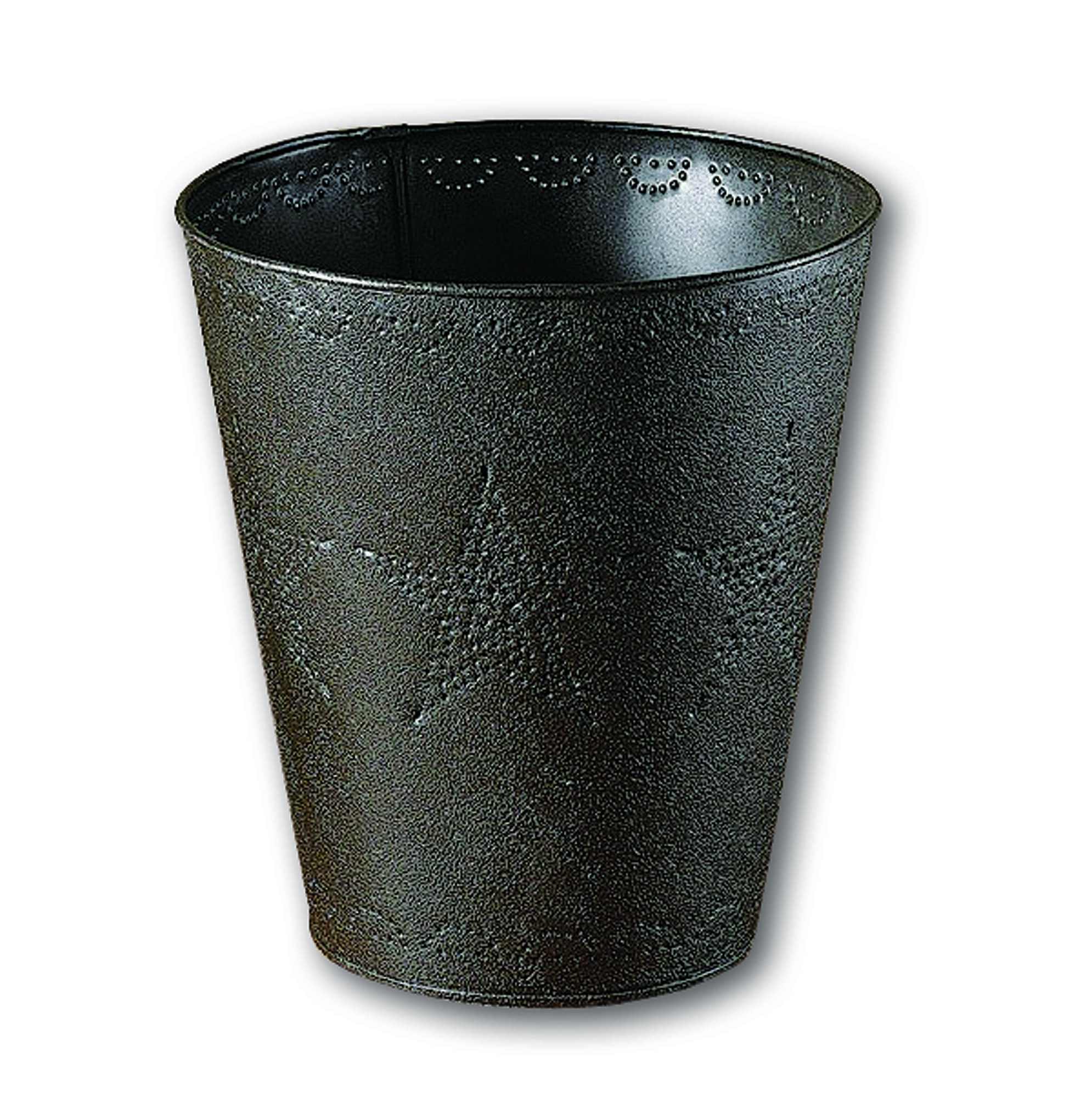 star-pattern punched tin wastebasket