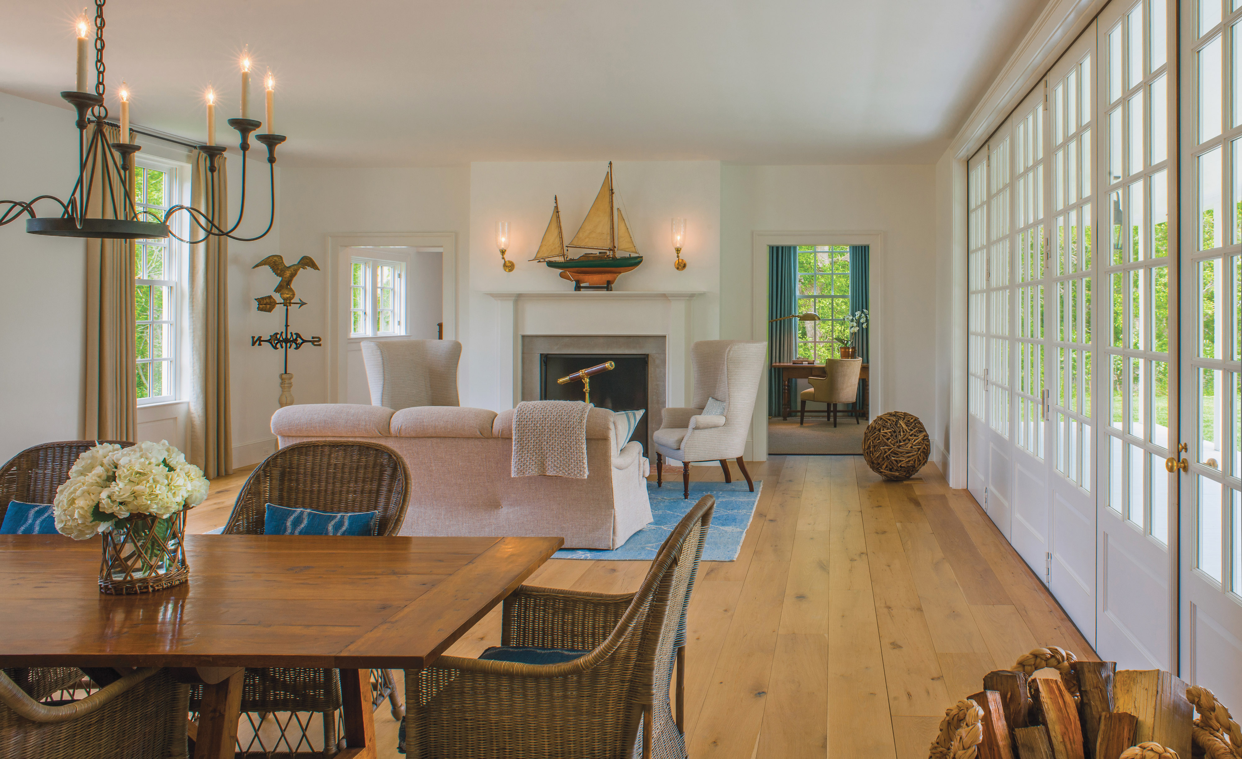 french doors, farmhouse living room