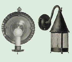 Sconces took cues from colonial tinware and symbolic ornament; lanterns aped English medieval models. Illustration Courtesy of the American Life Foundation