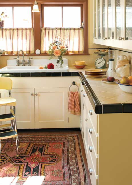 White-tile countertops are popular for kitchens modeled after those from the first half of the 20th century. Photo: William Wright.