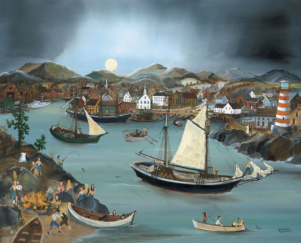 """The revelry of a river town bathed in moonlight is the subject of """"Port Moonbeam,"""" available in several formats."""