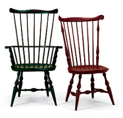 High-backed Windsors pay homage to the more refined Chippendale chairs affordable to only a few. These are from Warren Chair.
