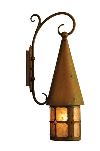 With period details like a Caramel glass shade and antique penny finish, plus creative touches like a conical cap and scrolled-arm bracket, Old California's Brinley lantern imparts a welcoming glow.