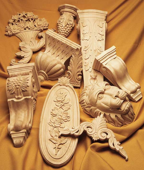 Wood carvings from Architectural Products by Outwater.