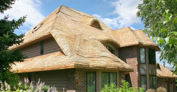 "Wood-shingle ""thatch"" by Custom Cedar Solutions."