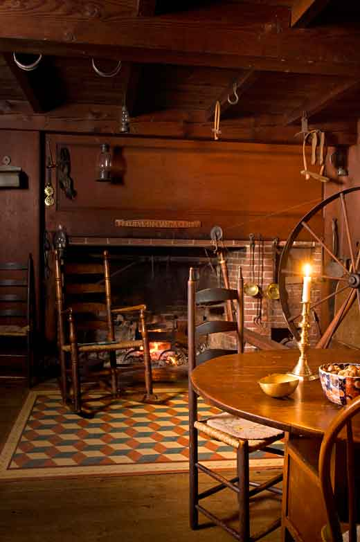 Wool is spun even today on the Shaker high spinning wheel in the house's original kitchen.