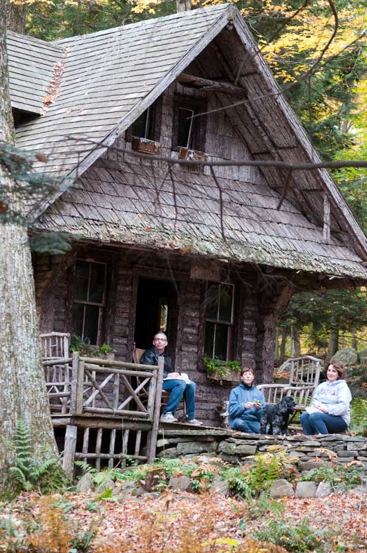Writer/editor Brian Coleman, stylist Jane Curley, and designer Iliana Moore break for lunch at Elka Park's rustic Wald Kapelle, the forest chapel.