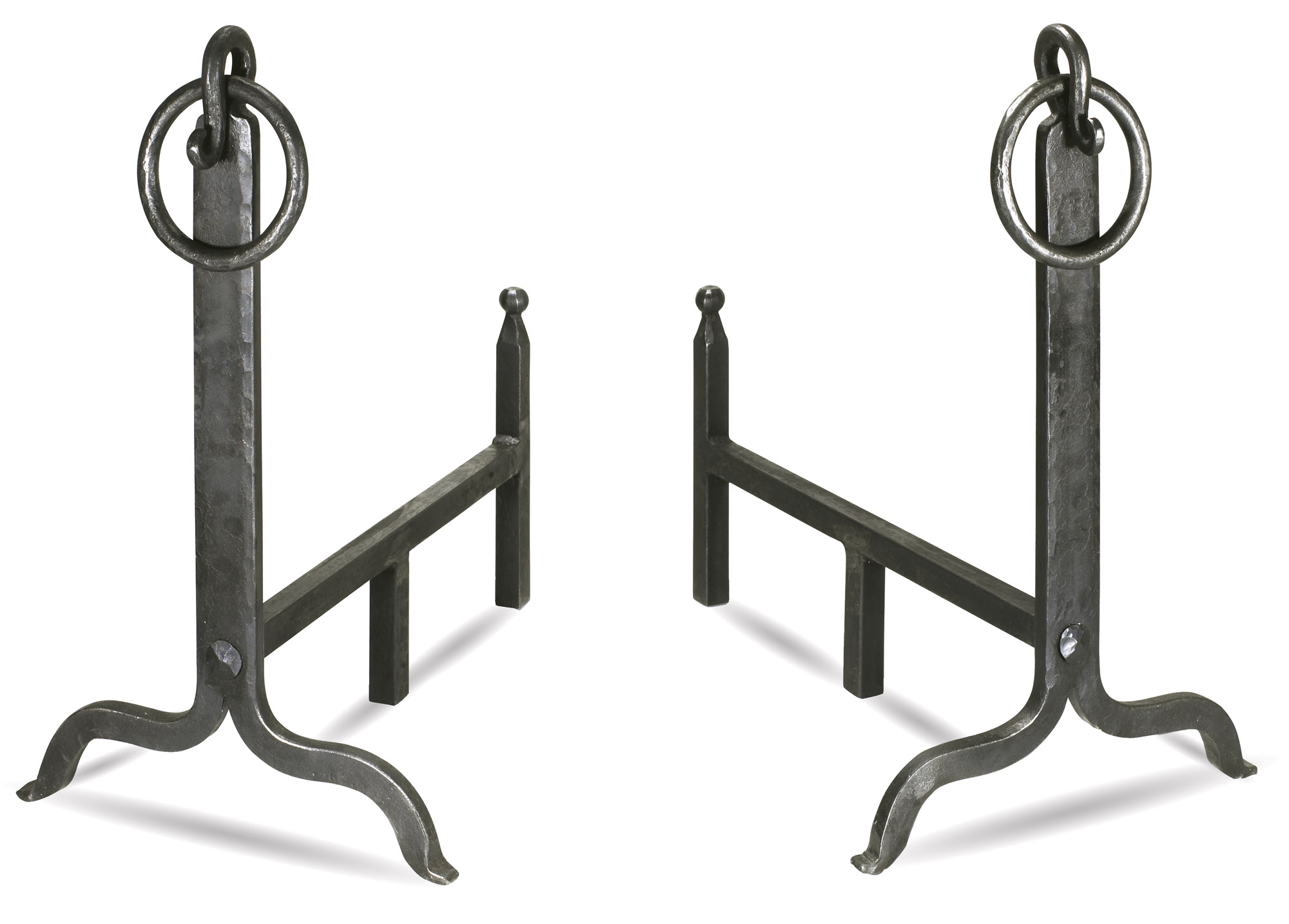 Hand-forged andirons with ring hooks