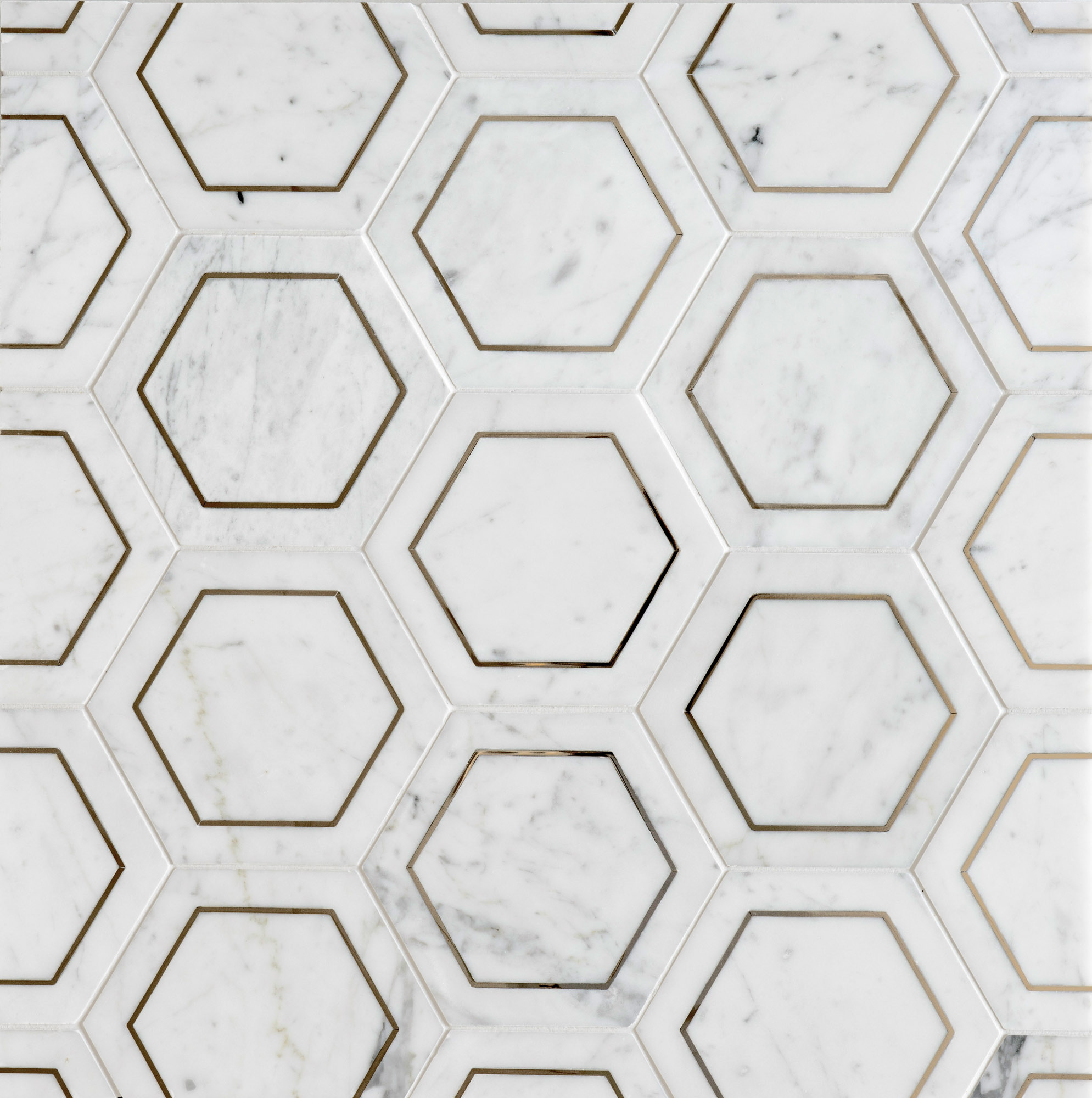 Carrara marble and steel hex tiles